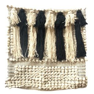 Accent / Throw Pillow Black White Tassel Harlow